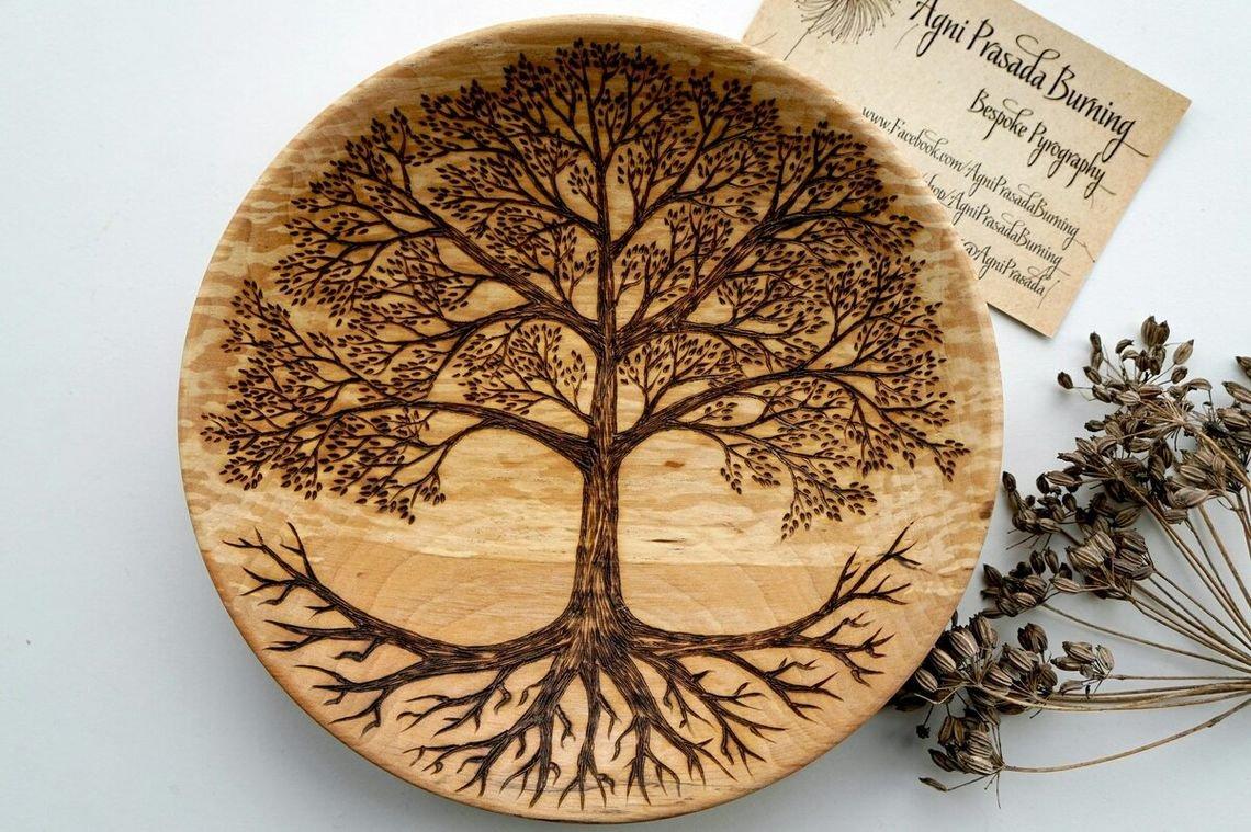 Выжигание - древесина дуб