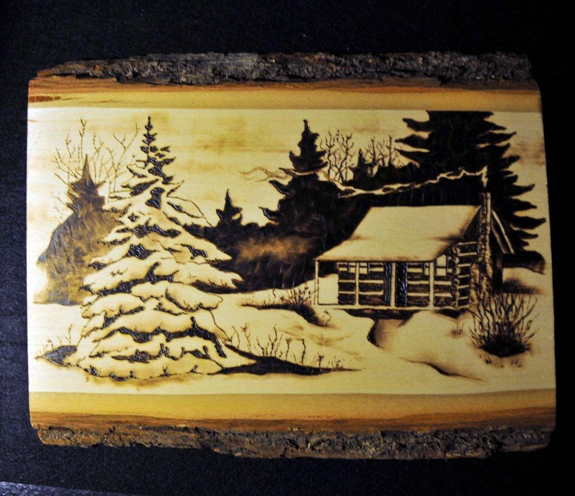 выжигание по дереву - древесина ель